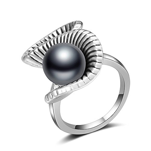 Mytys Retro Silver Ring Antique Rings Black Pearl Twist Ring for Women Girl Silver Plated(7) ()