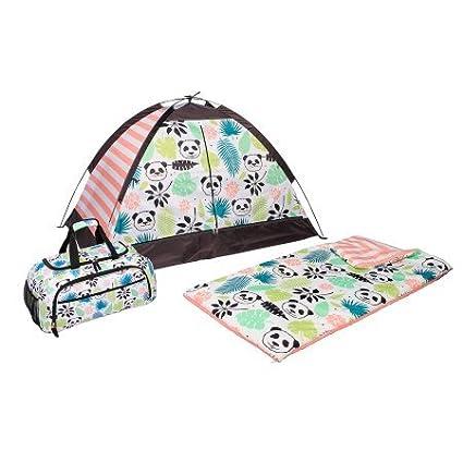 OLIVET Kids 3 piezas panda poliéster dormir Set incluye mochila de lona tienda de campaña,