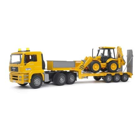 Awesome,Durable and Exciting Bruder Toys Man TGA Low Loader Truck with JCB Backhoe Loader on Trailer,Features Realistic Details and Functions,Excellent Gift ()