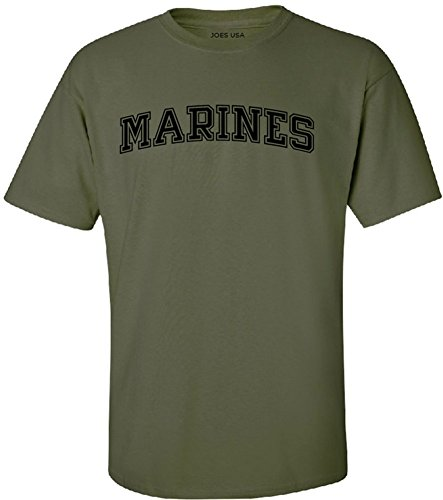Joe's USA - Military Green Marines Logo Short Sleeve T-Shirt-2XL