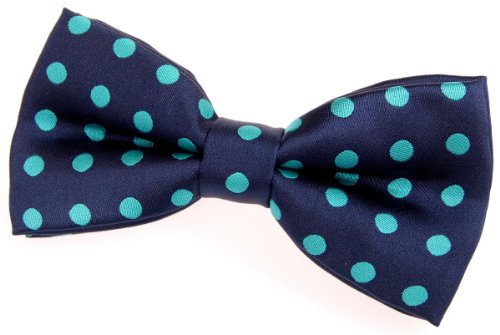 """Retreez Classic Polka Dots Woven Microfiber Pre-tied Bow Tie (4.5"""") - Navy Blue with Emerald Green Dots"""