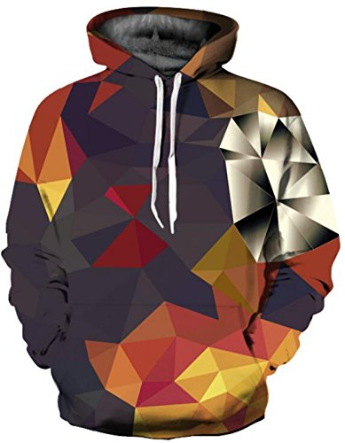 SAINDERMIRA Unisex Fashion 3D Digital Galaxy Pullover Hoodie Hooded Sweatshirt Athletic Casual with Pockets(Diamond II, L/XL)