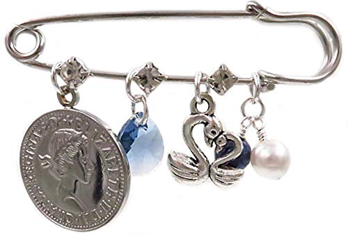 Better Than Buttons Six Pence, Blue Crystal, Swans, White and Blue Pearls (Simulated) Bridal Pin