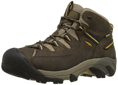 KEEN Men's Targhee II Mid Waterproof Hiking Boot,Black Olive/Yellow,12 M US