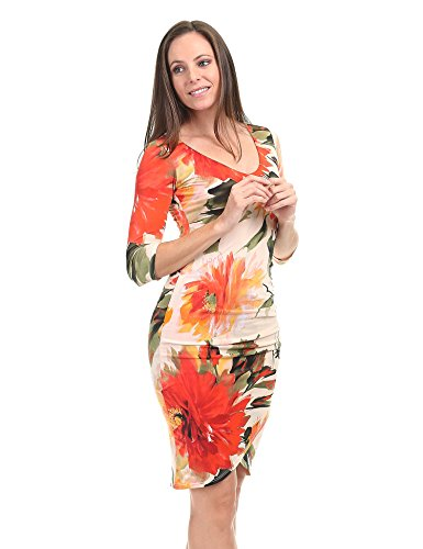 coral olive Dress Wdr1354 USA in Made Tulip Womens Bodycon 4 Neck V 3 Sleeve Deep CTC HFZz6gw