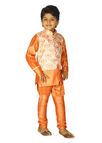 Ahhaaaa Kids Ethnic Indian Dupion Silk Kurta Pyjama and Waistcoat Set for Baby Boys (9-10 Years, Orange) by ahhaaaa (Image #2)