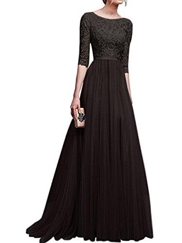 4 Elegant Abendkleider KAIDUN Brautjungfernkleid Damen Arm 3 Schwarz Lange ptqqSw5