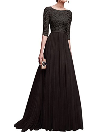 Lange Schwarz Damen Brautjungfernkleid Arm 4 Elegant Abendkleider 3 KAIDUN xWgnYqZ8wq