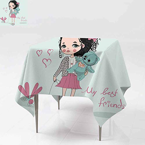 AFGG Waterproof Table Cover,Girl with Teddy Bear,for Events Party Restaurant Dining Table Cover 70x70 Inch