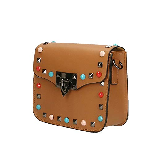 Light pelle 18x15x7 Dimensione tracolla tracolla Made con donna in Piccola Italy Colore Vera da Leather Pochette Cm Mud 0wgU66