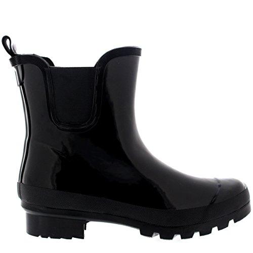 Mujer Clásico Chelsea Glosar Zapatos Planos Jardín Welly Zapato Botas Negro