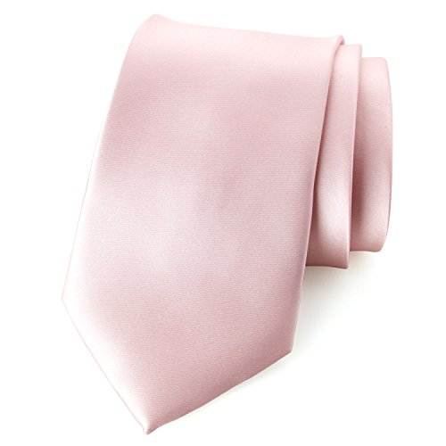 Spring Notion Men's Solid Color Satin Microfiber Tie, Skinny Blush Pink