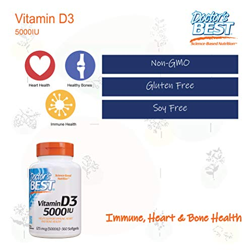 Doctor's Best Vitamin D3 5,000 IU for Healthy Bones, Teeth, Heart and Immune Support, Non-GMO, Gluten-Free, Soy Free, 360 Softgel