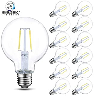 12 Pack Edison G25 LED Bulb, Clear Glass, 60W Equivalent (5W), 500LM, 5000K Daylight, E26 Base, Dimmable Filament LED Vanity Light Bulbs, UL Listed