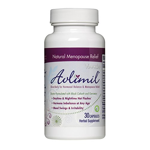 Avlimil Menopause Supplement Hormonal Balance Pills | Mood Swing Support, Ease Hot Flashes, Sweating - Genistein Isoflavones, Black Cohosh, Damiana Leaf, Valerian - 30 Capsules (1 Month) (Damiana Leaves)