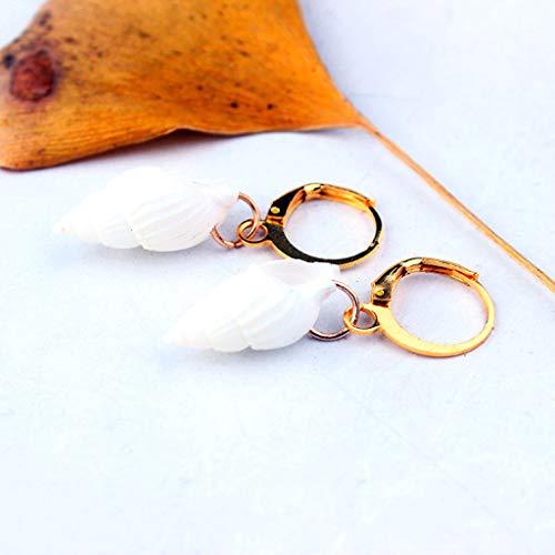 Ruzida Boho Sea Shell Hoop Earrings Natural Conch Drop Earrings Ocean Beach Jewelry