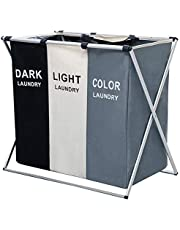 "AosKe 3-Section Laundry Basket or Dirty Laundry sorter Made of Tianjin Waterproof Bag and Aluminum Frame (24.5"" X 15"" X 23"") Foldable & Detachable."