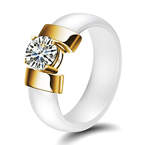 (VQYSKO Gold Color Stainless Steel Ceramic Rings with Cubic Zirconia Women Rings (W8))