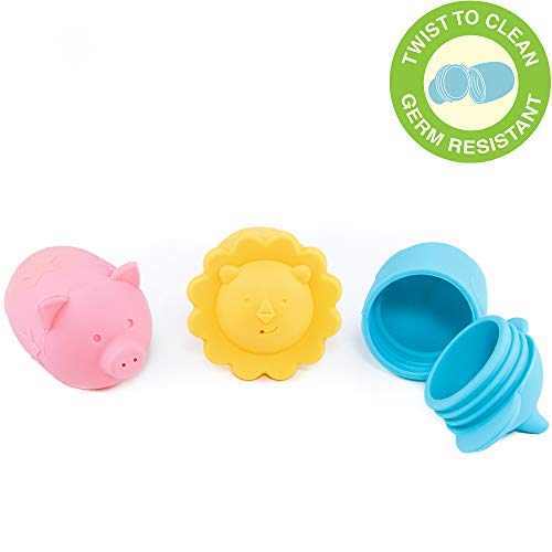Giggles & Pebbles Silicone Pop-Squirt Bath Toy - BPA, PVC, Phthalate, Latex Free - Mold-Free Shower Toys (3pc) with Storage Bag for Infant Baby Toddler Boys and Girls