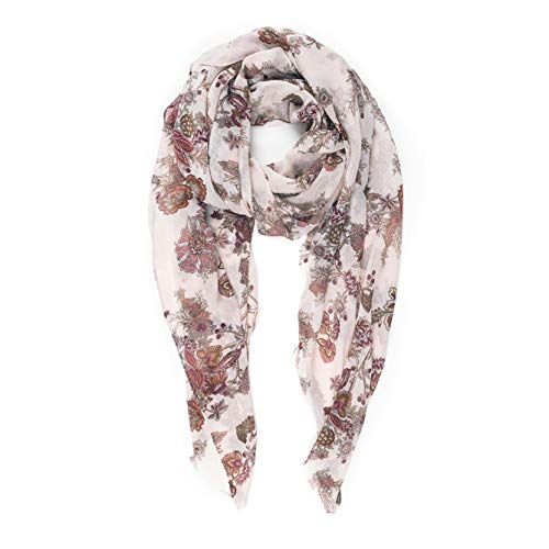 Scarves for Women Lightweight Floral Flower Fall Winter Fashion wrap by MIMOSITO (Beige-Brown Floral) (Dress Scarf Collection)