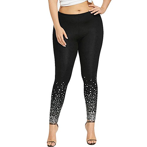 Womens Size,St.Dona Hot Sale Plus Size Mid Waist Stars Printed Leggings Yoga Sport Casual Pants (XL, Black) (One Star Mid Top)