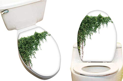 Toilet Seat Sticker plats Ivy Vines on Poles on White backgroun Waterproof Decorative Toilet Cover Stickers13 x18