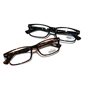 Casual Fashion Horned Rim Rectangular Frame Clear Lens Eye Glasses (2 Pair Black&Tortoise)