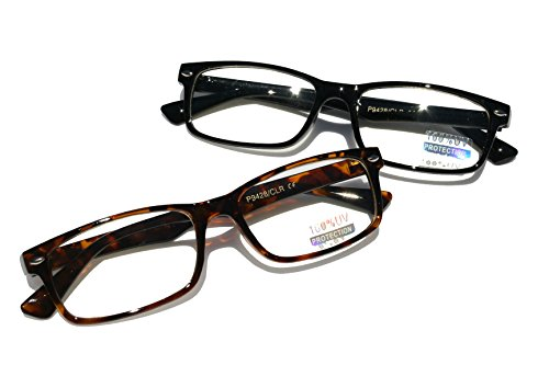 Casual Fashion Horned Rim Rectangular Frame Clear Lens Eye Glasses (2 Pair Black&Tortoise)