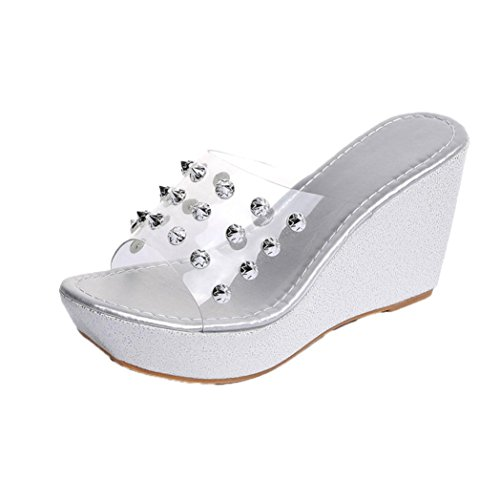 Womens Sandals ,Clode® Fashion Womens Ladies Peep Toe Rivet High Heel Wedge Slip on Slippers Flip Flops Sandals Summer Beach Shoes for Holiday Silver