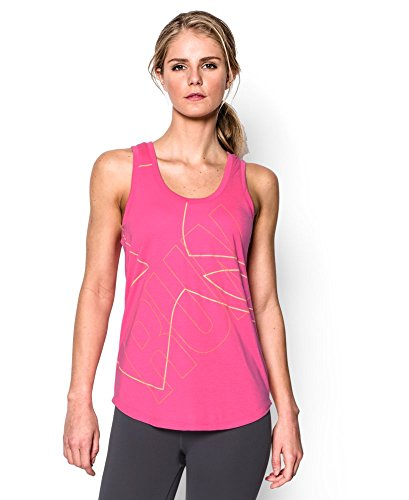Under Armour Women's UA Oversized Run Graphic Tank Medium REBEL PINK