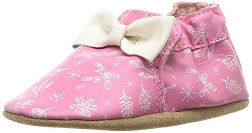 (Robeez Girls' Soft Soles Crib Shoe, Francesca Floral Pink, 0-6 Months M US Infant)