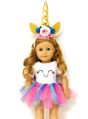 Genius Dolls Unicorn Clothes, Headband, Tutu -fits all