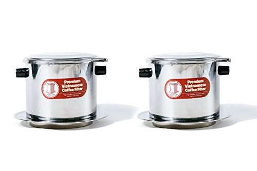 Set of 2 Vietnamese Traditional Coffee Phin Filter. Restaurant Quality Coffee- 15 Ounce by Thang Long