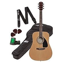 Fender FA-100 6-Strings Acoustic Guitar Pack for Beginners, Natural