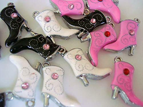 - 9 Rhinestone Women Boot Enamel Charm/Findings/Craft/Beading/Bead/Lady Shoe #ID-151