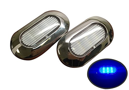 Pactrade Marine 2 of Boat Blue LED Light SS304 Housing Surface Mount 12V 22LM IP67 (Blue Marine Housing)
