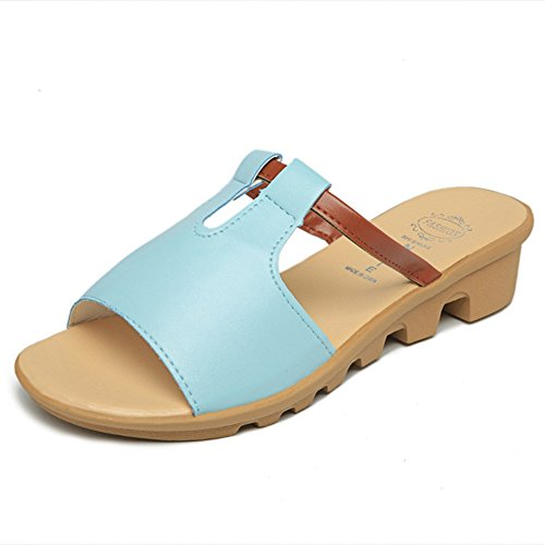 CYBLING Womens Low Wedges Slide Sandals Fashion Soft Sole Comfort Slipper Shoes Blue
