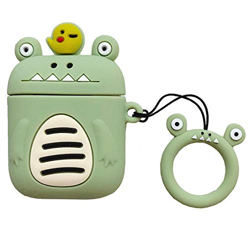 Ultra Thick Soft Silicone 3D Crocodile Alligator Chick Green Case for Apple Airpods 1 2 with Finger Loop Cartoon Animal Protective Mini Bag Protector Shockproof Cute Fun Gift Girls Boys Teens Kids