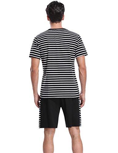 Aibrou Manches Pantalon shirt En Noir Pcs Hommes Ensemble Coton Pyjama Avec Courte T De Top 2 rCqUwArxzc