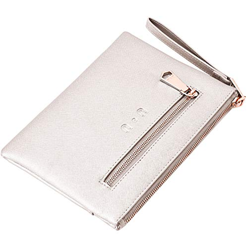 Wristlet Wallet for Ladies, Large Capacity Leather Clutch with Power Bank, Phone Hangbags with Wrist Strap White