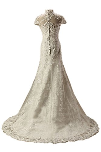 Illusion Wedding Collar High Dress Sheath Gorgeous Avril Ivory Lace Applique Dress ATREnxq