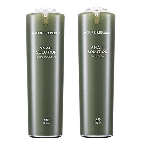 (Nature Republic Snail Solution Skin Booster 120 Ml Emulsion 120 Ml Set Revitalizing Moisturizing Brightening Wrinkle Damged Skin Improvement )
