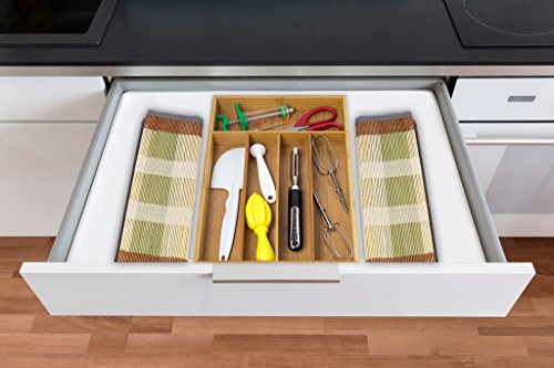 Chef Essential Bamboo Utility Drawer Organizer, Kitchen Silverware tray, 5-Compartment, Your Drawer Will Look Super Neat with This Bamboo Divider, Great Gift Idea for Your Loved One. by Chef Essential (Image #2)
