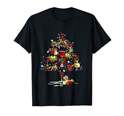 Wine glass Christmas Tree Merry Xmas Lover Gift Shirt by 2 Wine glass Christmas Tree