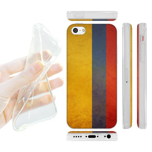 Head Case Designs Colombia Colombian Vintage Flags Soft Gel Back Case Cover for Apple iPhone 5c