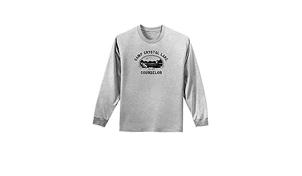 da8a9db4d31f Amazon.com  TooLoud Camp Crystal Lake Counselor - Friday 13 Adult Long  Sleeve Shirt - Ash Gray - Large  Clothing