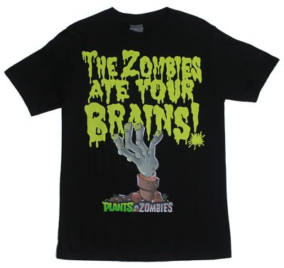 The Zombies Ate Your Brains - Plants Vs. Zombies T-shirt: Adult XL - Black]()