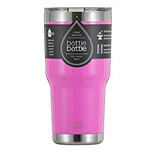 Bottlebottle 30 oz Insulated Tumbler Cup Stainless Steel Travel Coffee Mug, Shiny Cherry Pink