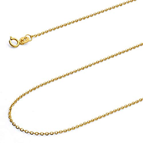 Wellingsale 14k Yellow Gold SOLID 1.2mm Polished Side Diamond Cut Rolo Cable Chain Necklace with Spring Ring Clasp - 16