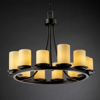 Justice Design Group CNDL-8768-14-CREM-DBRZ Candlearia Collection Dakota 12-Light Ring Chandelier, Short - Candlearia Chandelier
